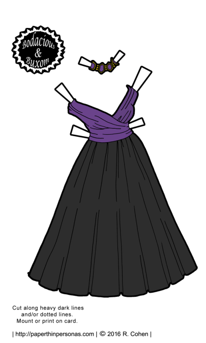 The B&B curvy paper dolls get to a New Years gown in color and black and white. Free printable paper doll gown from paperthinpersonas.com.