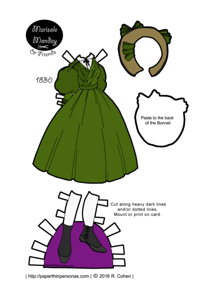 A green 1830s paper doll dress based on a fashion plate from 1830 with a matching bonnet and shoes from paperthinpersonas.com.