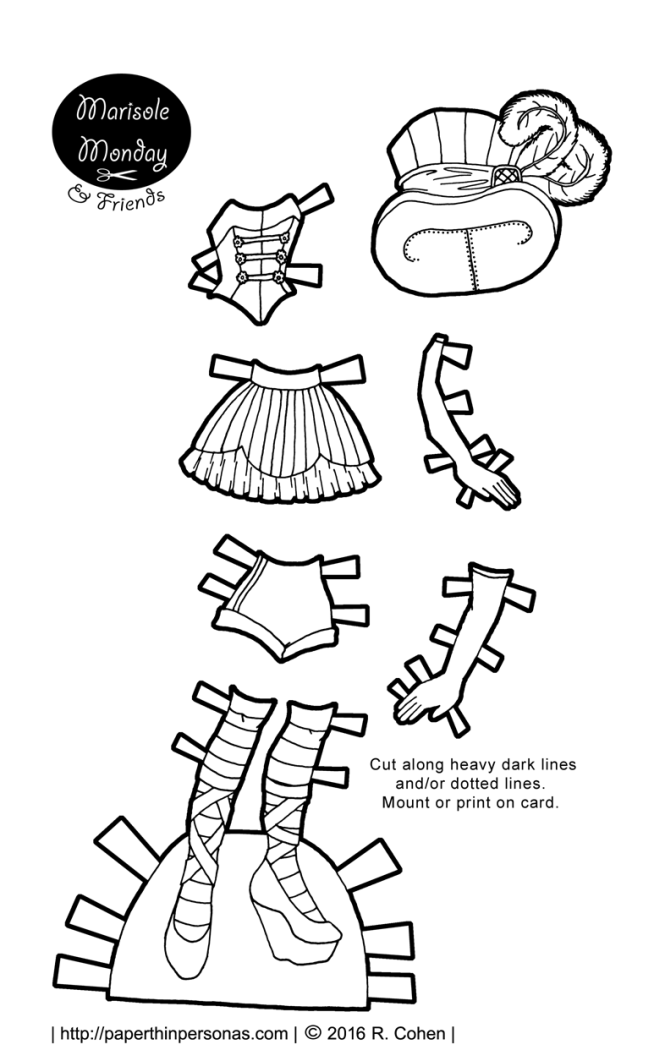 A paper doll circus costume with a really rocking top hat. Free to print in color or black and white for coloring.