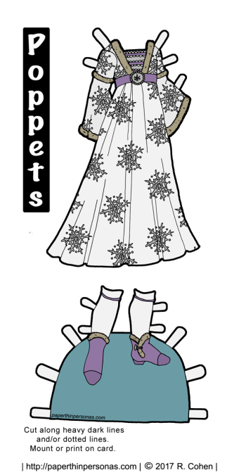 Today's fantasy paper doll gown was inspired by the Burgundian gowns of the mid to late 1400s, snowflakes and the color lavender. Download and print for free!