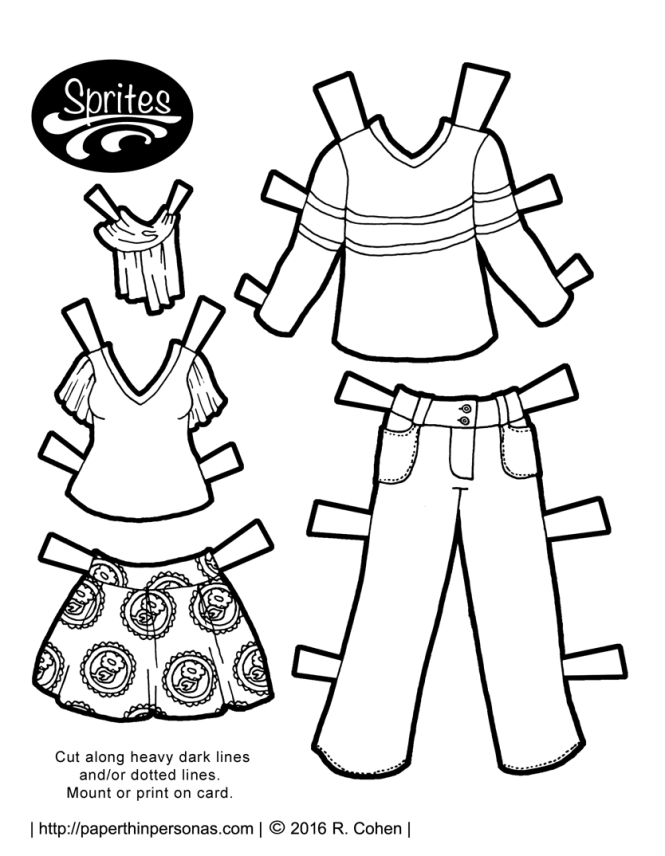 The Sprites printable paper dolls get a pair of contemporary paper doll outfits. One is a skirt and a t-shirt with flutter sleeves, plus a scarf. For the gents, there is a long sleeved t-shirt and a pair of cargo pants. Print and color.