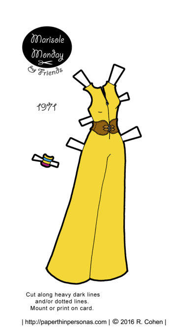 A super cute bright yellow jumpsuit from 1971 based on the art on a vintage sewing pattern cover. Available in color or black and white.