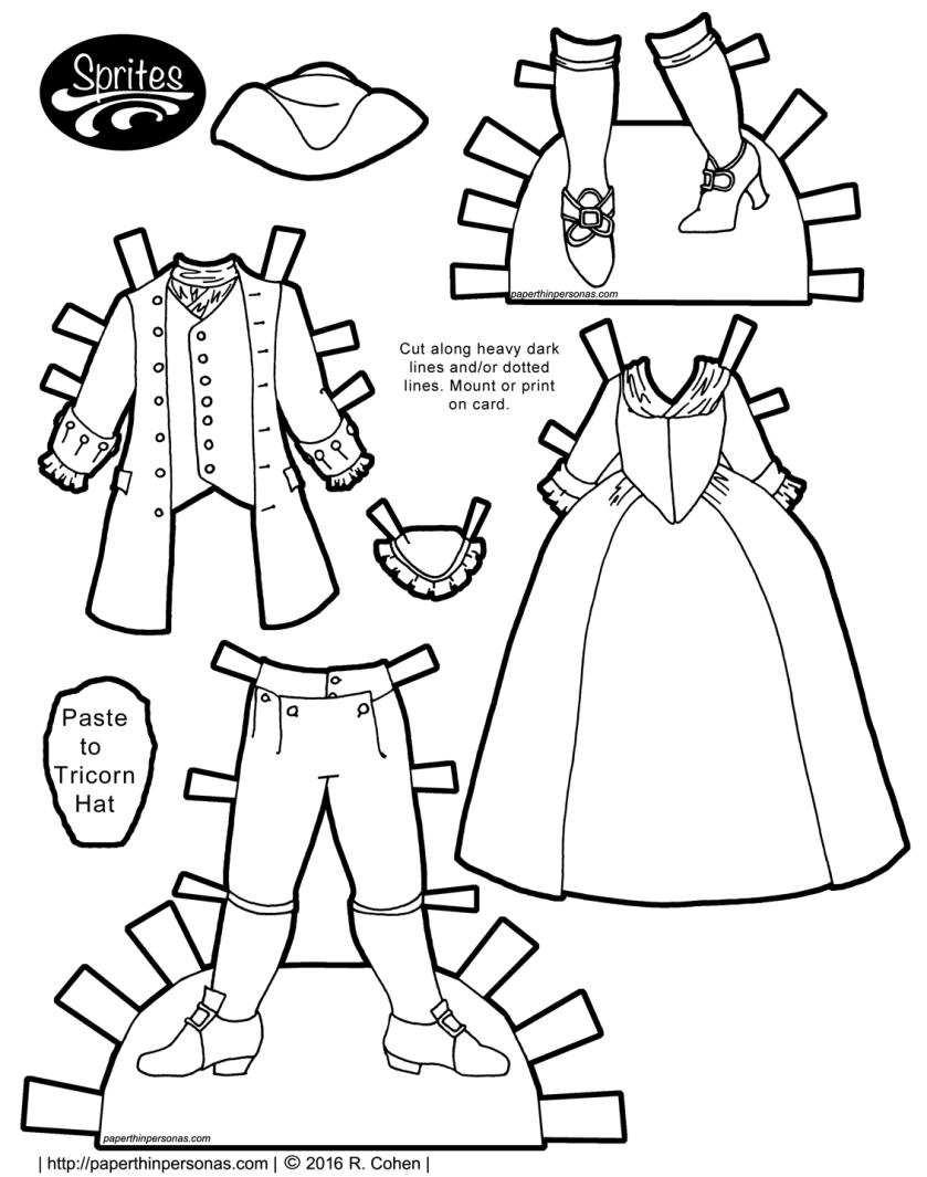 18th Century paper doll clothing in black and white