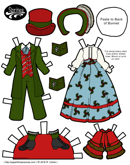 A pair of Dickens caroling costumes for the Sprites printable paper doll series in color or black and white. Free to print from paperthinperosnas.com.