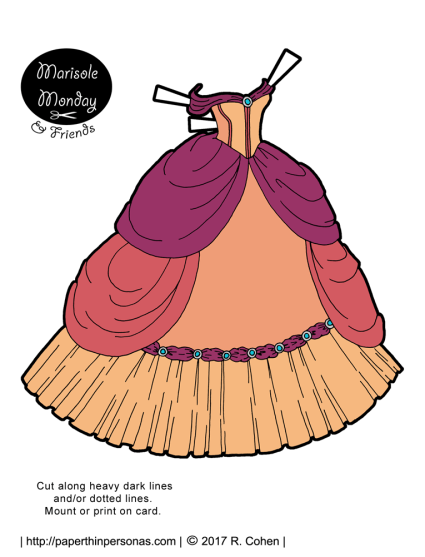 A fantasy princess paper doll ballgown in the colors of the sunset.