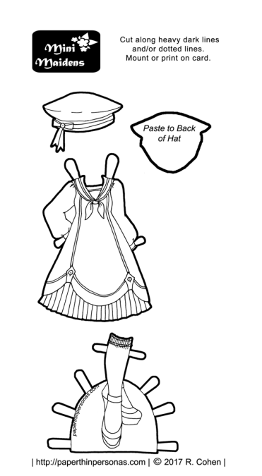 A sailor Lolita outfit for the Mini-Maiden printable paper doll series. Free to print from paperthinpersonas.com.