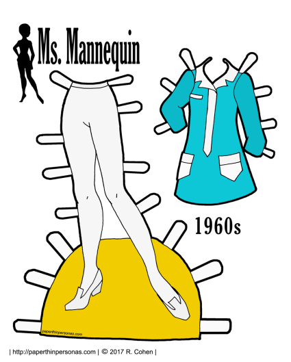 A paper doll foray into 1960s fashion with a blue and white shirt dress and tights. Free to print in color or black and white.