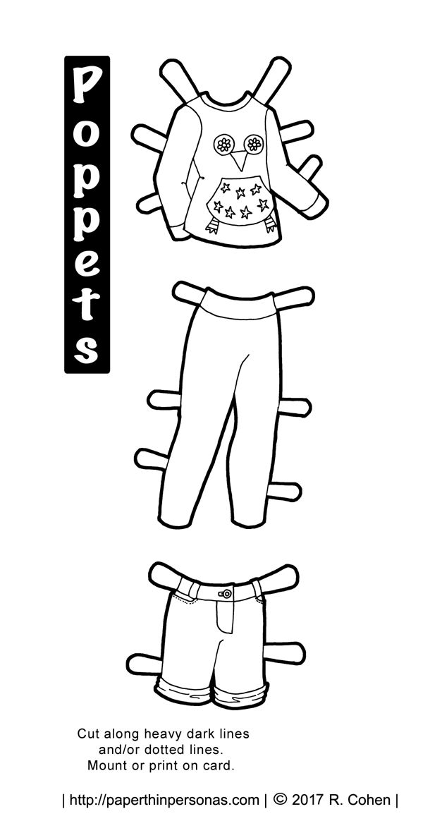 A black and white paper doll clothing coloring page with a contemporary kids outfit from paperthinpersonas.com.