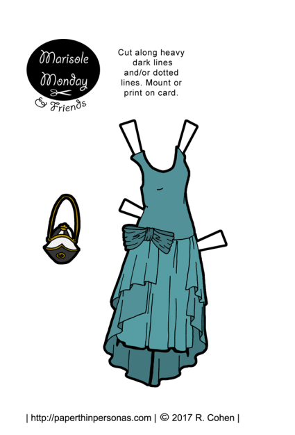 A 1920s party dress based on a French design from 1929 for the Marisole Monday and friends paper doll series. One of hundreds of paper doll designs from paperthinpersonas.com.