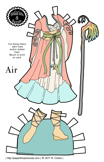 A paper doll fantasy gown inspired by the element Air. It is a pale pink draped coat with flare sleeves over a cream colored under dress over a pale blue under-dress. Over the coat, there is a wide obi like belt with decorations. The boots are pale yellow and there is a staff with a wing design.