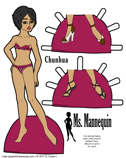 An Asian printable paper doll with short hair and two pairs of shoes. Part of the Ms Mannequin series, she can share clothing with any of the other Ms. Mannequin paper dolls. She's free to print from paperthinpersonas.com.