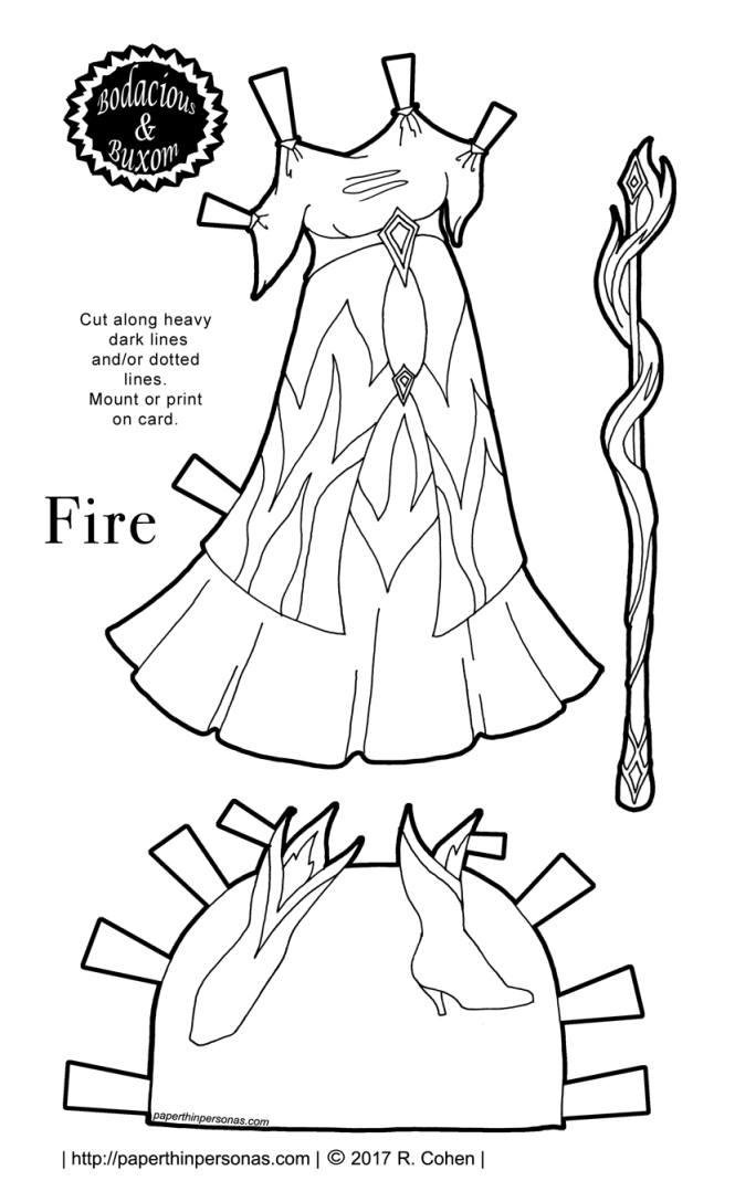 A fire inspired paper doll dress with matching boots. Part of the Sorceress Gowns' Project from paperthinpersonas.com. Free to print and color.