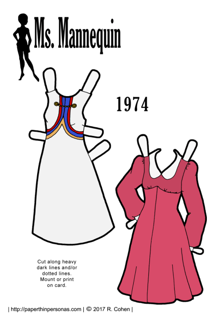 A pair of 1970s dresses for the printable paper doll series Ms. Mannequin from 1974. Both are based on sewing patterns from the era.