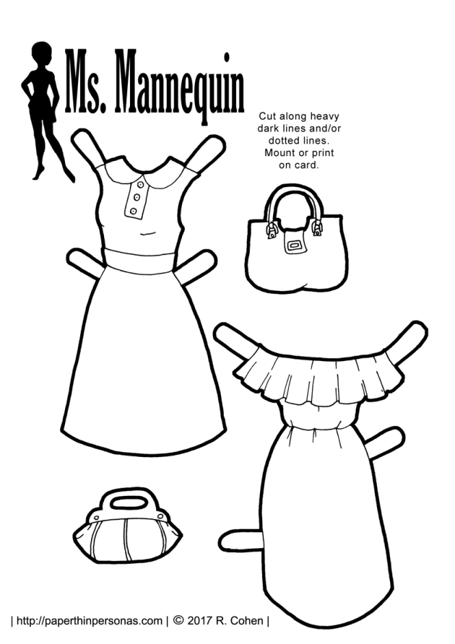 A paper doll prom dress with a cropped top and full floral skirt. Free to print from paperthinpersonas.com.