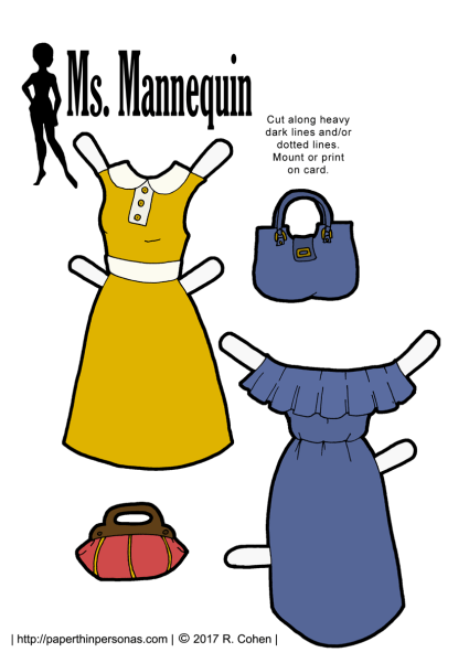 Two summer dresses for paper dolls, free to print and play with from paperthinpersonas.com.