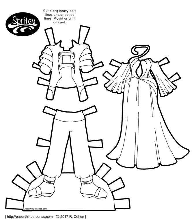 Space Prince and Space Princess printable paper doll outfits in color or black and white from paperthinpersonas.com.