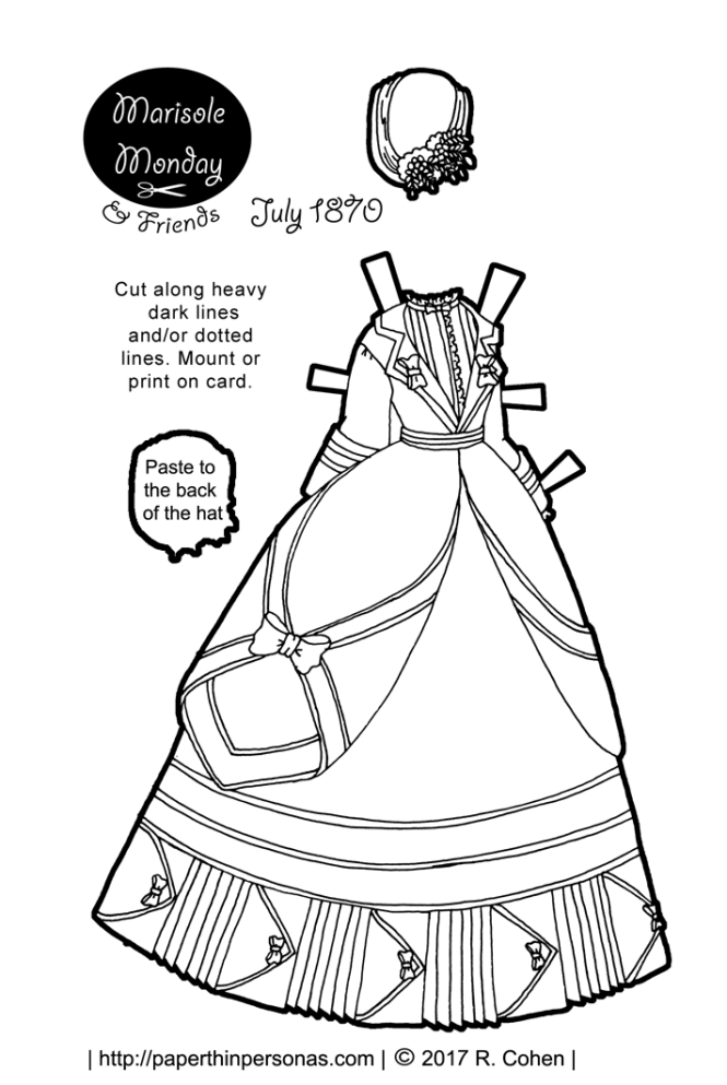 A beautiful Victorian printable paper doll bustle dress based on a dress from 1870. Free to print and color from paperthinpersonas.com.