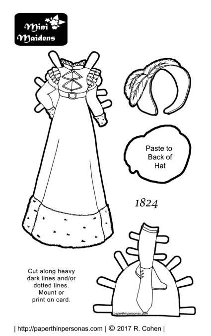 A beautiful paper doll coloring page with an 1824 winter walking dress and boots. Free to print and color from paperthinpersonas.com.