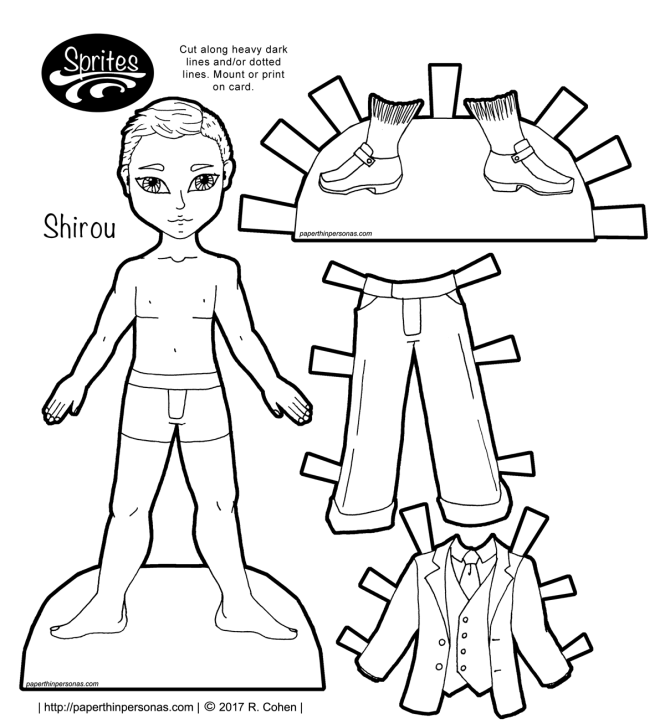 An Asian guy printable paper doll with a dashing three piece suit. Free to print and color from paperthinpersonas.com.
