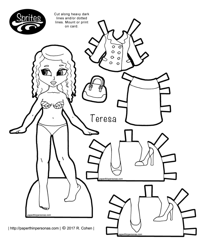A printable Latina paper doll with a suit named Teresa and two pairs of shoes. Part of the Sprites printable paper doll series she can wear any of the ladies Sprite paper doll clothing. Print and color this paper doll.