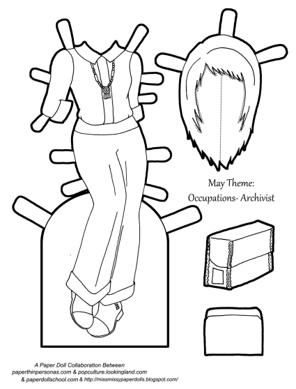 An Archivist paper doll outfit coloring page from paperthinpersonas.com.