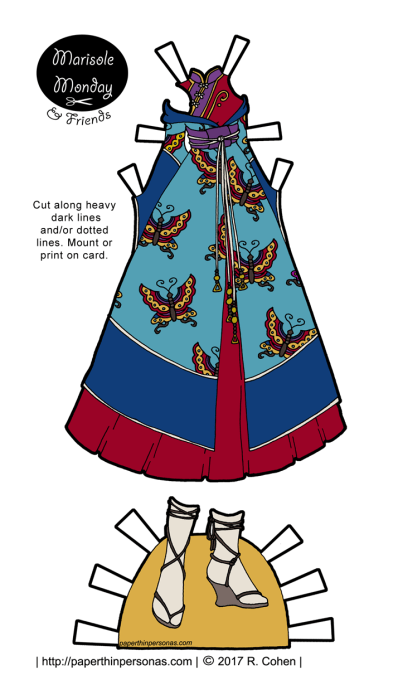 A fantasy gown inspired by kimonos and qipao for the Marisole Monday & Friends free printable paper doll series.