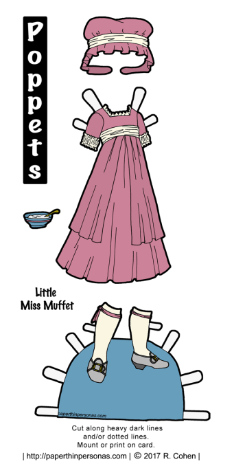 An late 18th century inspired Little Miss Muffet costume in pink and cream with grey shoes for the Poppet's printable paper doll series from paperthinpersonas.com.