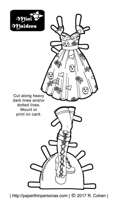 A rockabilly inspired paper doll dress covered in skulls, flowers, hearts and stars, plus matching boots. One of hundreds of paper doll designs from paperthinpersonas.com.