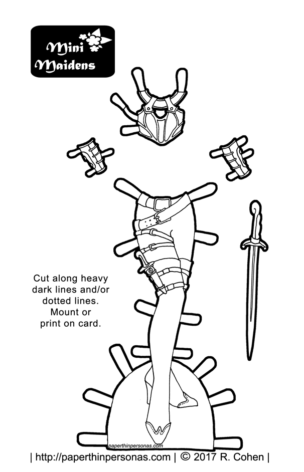 a paper doll fantasy armor coloring page with wrist guards and a sword boots and