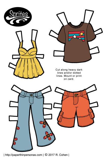 A set of summer paper doll clothing for boy and girl paper dolls in color or black and white from paperthinpersonas.com. Jeans, t-shirt, shorts and a tank top are all included.