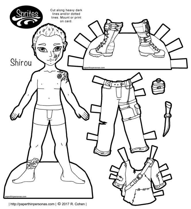 A post-apocalyptic printable paper doll guy with boots, pants and a shirt, plus tattoos and a canteen. One of hundreds of paper doll coloring pages from paperthinperosnas.com.