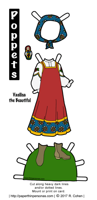 A paper doll costume for Vasilisa the Beautiful to print and play with. The traditional Russian outfit includes a sarafan and blouse with a headscarf and boots. She even has a tiny matryoshka doll.