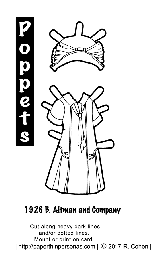 A historical vintage 1926 printable paper doll dress to color with matching hat for the Poppets printable paper doll series from paperthinpersonas.com.