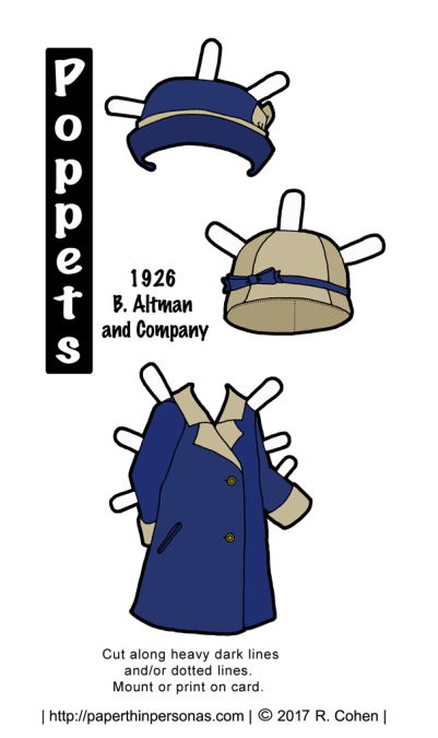 A 1920s coat design for the Poppets printable paper dolls from paperthingpersonas.com. One of dozens of historical paper doll designs.