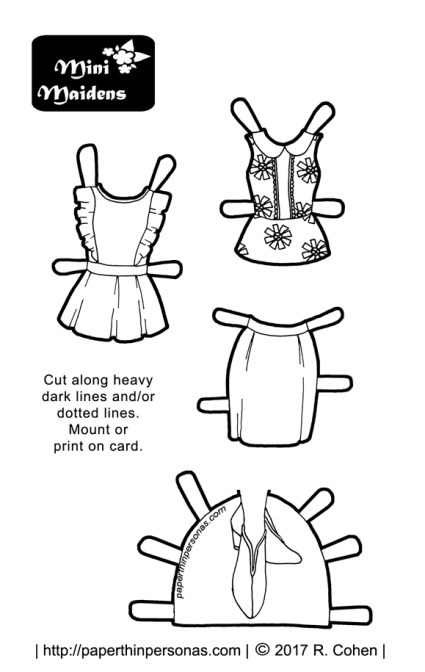 A pair of sleeveless tops and a pencil skirt with booties for a printable paper doll in black and white for coloring. Free from paperthinpersonas.com.