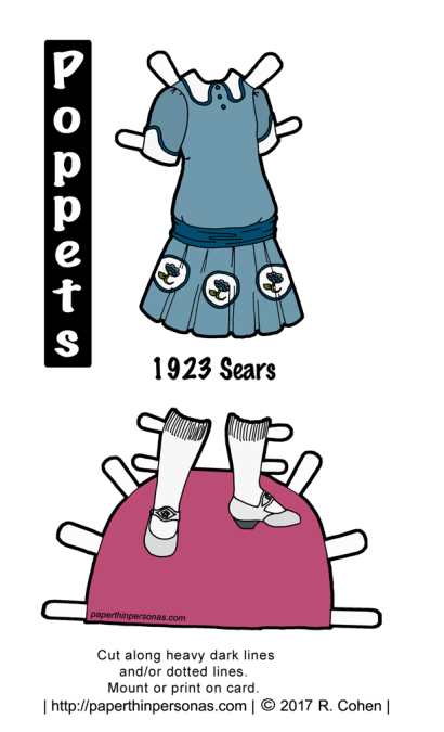 A 1920s doll dress from Sears catalog designed to fit the Poppet's printable paper doll series. The drop waisted blue dress with white medalions around the skirt that feature flowers in the center. The dress has a dark blue sash and white collars and cuffs. White shoes with knee high socks complete the outfit.
