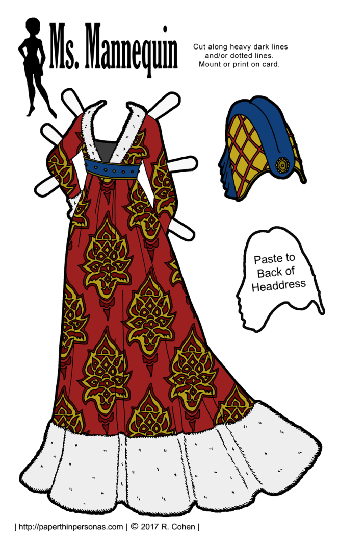 A Burgundian gown for a paper doll based on illuminated manuscript illustrations. Along with the gown, there is a headdress based on the designs of the 1450s.