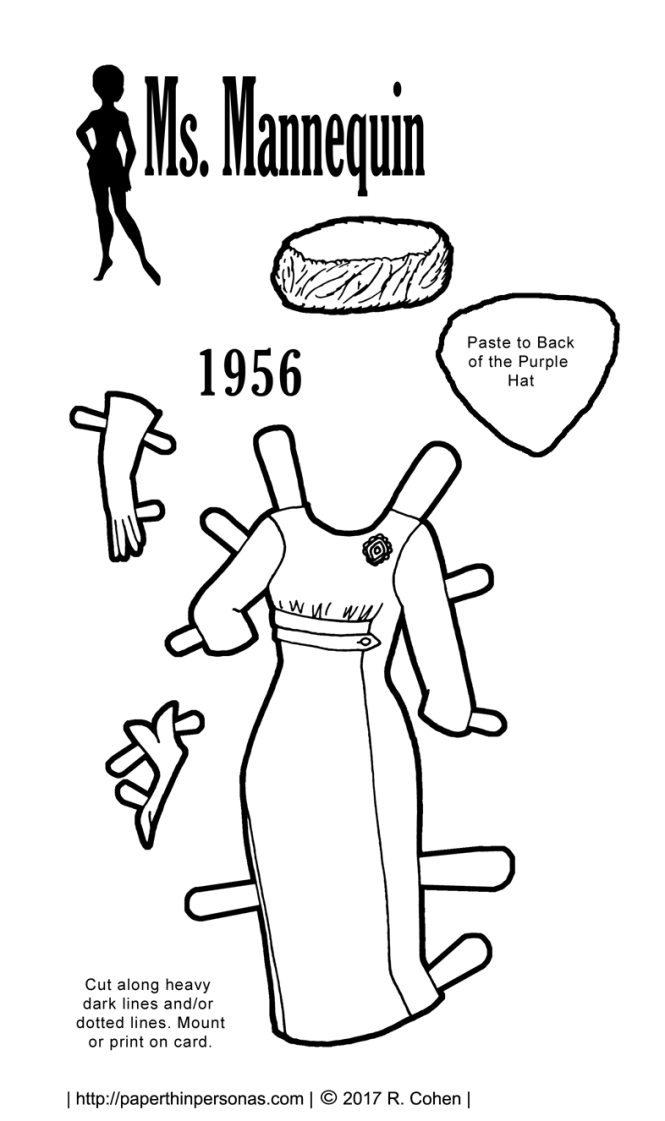 A paper doll dress based on a pattern cover from 1956 for the Ms. Mannequin paper doll series to print and color.