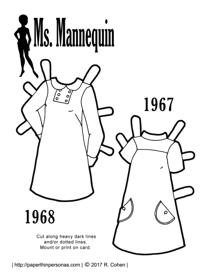 A pair of 1960s vintage paper doll dresses based on sewing pattern covers from 1968 and 1967. Free to print from paperthinpersonas.com.