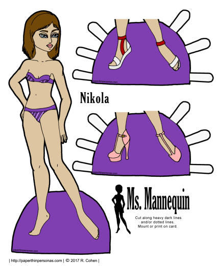 A printable paper doll named Nikola with brown hair, blue eyes and olive skin. She has two pairs of shoes and can wear any of the Ms. Mannequin clothing.
