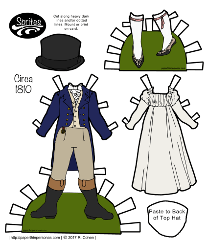 A set of regency paper doll clothing to print from paperthinpersonas.com with a man's suit and a woman's day dress and shoes. The pieces are designed to fit the Sprite paper doll series.