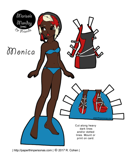 A cyberpunk African-American paper doll with a dress and shoes from paperthinpersonas.com. As part of the Marisole Monday & Friend's series there are hundreds of outfit she can wear.