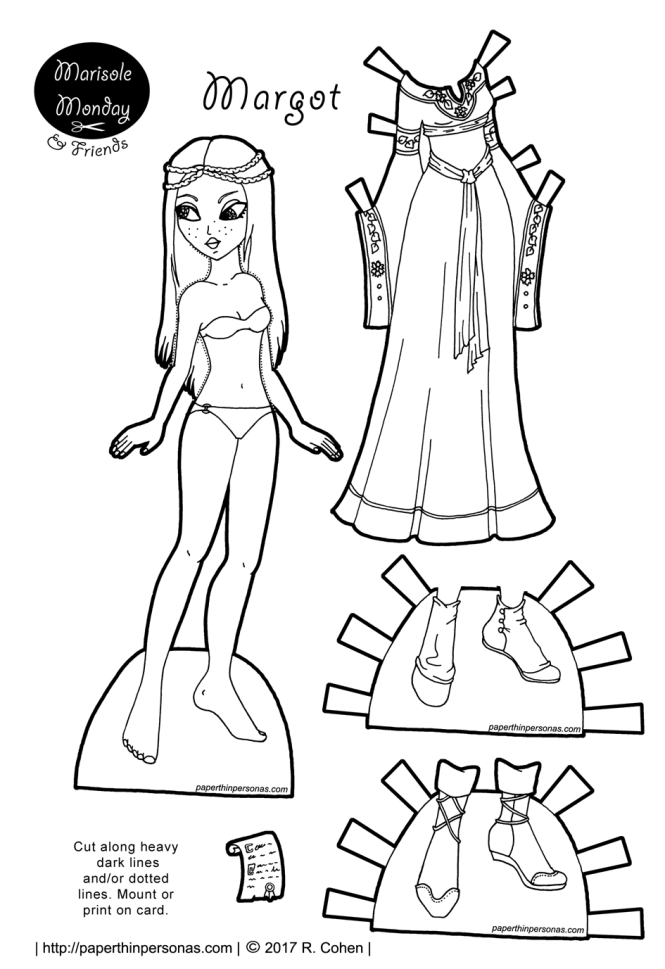 A printable paper doll of a medieval princess with a gown and two pairs of shoes to print and color. Part of the Marisole Monday & Friend's collection of printable paper dolls from paperthinpersonas.com.