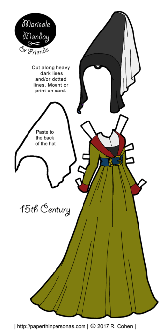A 15th century dress for a paper doll with a headdress based on manuscript illustrations to print and play with from paperthinpersonas.com