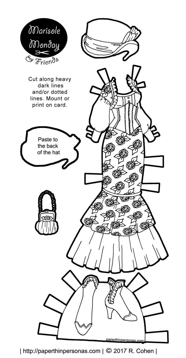 A steampunk Marisole Monday & Friend's printable paper doll outfit in black and white to play with from paperthinpersonas.com.