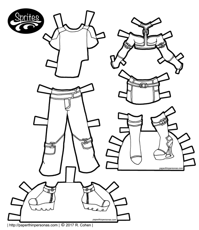 A set of original cyberpunk paper doll clothing designs to color for the Sprites printable paper doll series from paperthinpersonas.com.