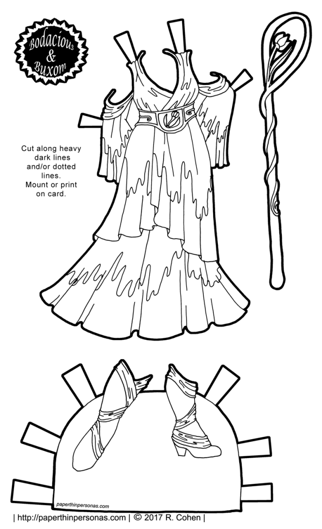A fantasy paper doll gown inspired by the renaissance with stockings and shoes.