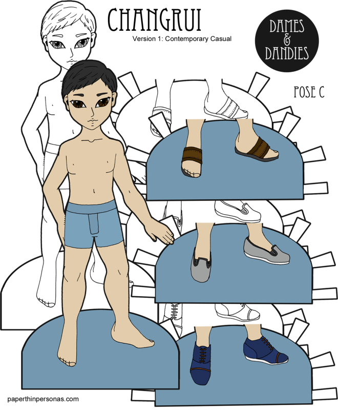 One of the Pose C paper doll men, Changrui is an Asian paper doll with three pairs of shoes. Free to print from paperthinpersonas.com.