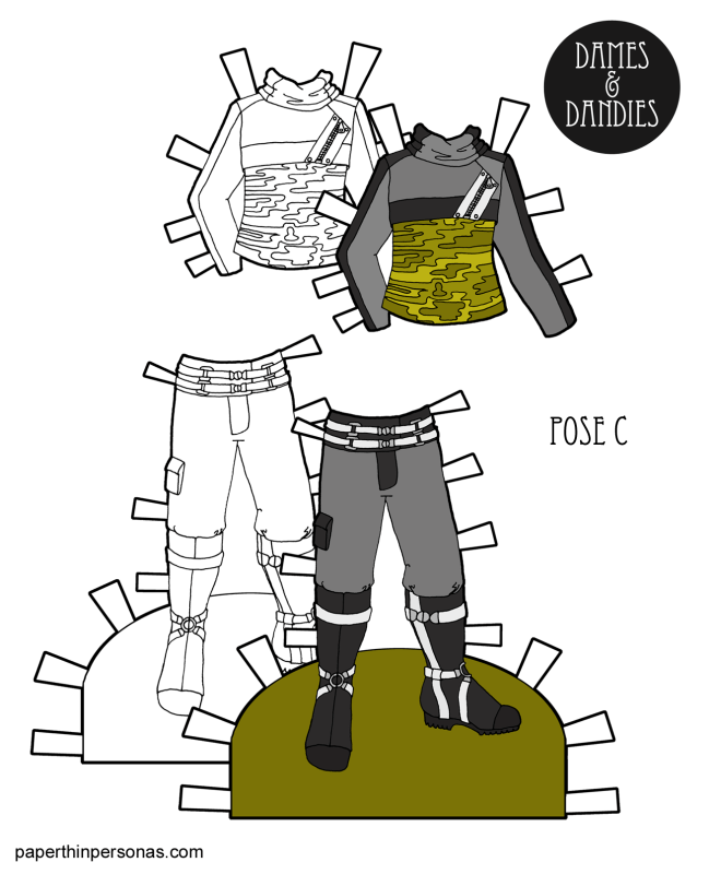 A set of sci-fi paper doll clothing with boots and and jacket. Free to print in color and black and white from paperthinpersonas.com.