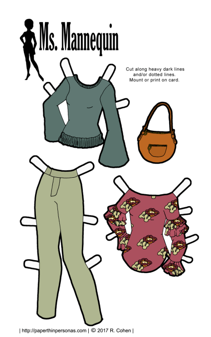 Trendy paper doll clothing to print for free for the Ms. Mannequinn paper dolls. A sweater, a pair of pants, and a floral blouse, plus a matching purse.